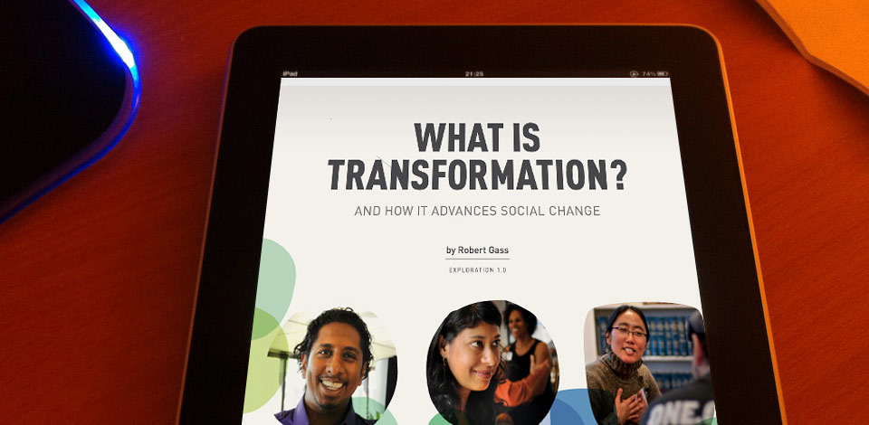 tablet computer showing the cover of What is Transformation?